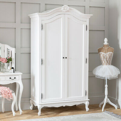 French Chateau White Painted 2 Door Double Wardrobe Armoire - Bedroom - FW02