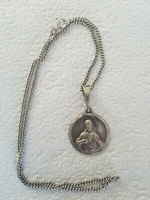 Vintage Italy Sterling Silver Jesus Open Heart Reverisble Mary Madonna Medal...