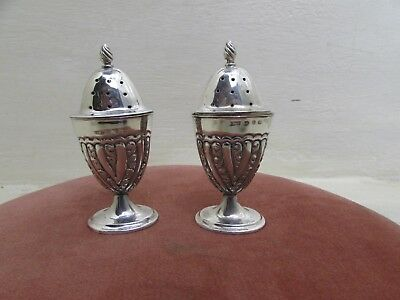 Pair Late Victorian Classical Form Sterling Silver Pepperettes Birmingham 1897