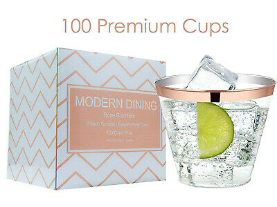 Modern Dining | 100 Rose Gold Plastic Cups 9oz Rimmed Clear Premium 9oz Tumblers