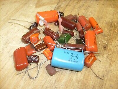 Vintage Radio Parts 30 Lot #2 Drop Capacitors - Orange - Sprague - Radio Repair