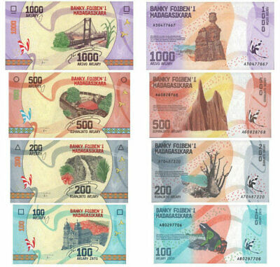 Set 4 Ariary UNC Banknotes MADAGASCAR: 100 200 500 1000 new mint note collection