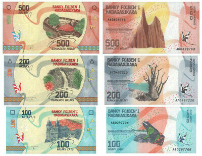 Set 3 x Ariary UNC Banknotes MADAGASCAR: 100 200 500 P97 P98 P99 note collection