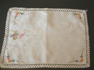Vintage Embroidered Table Runner Topper
