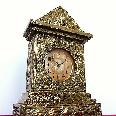 Antique JUNGHANS German CLOCK Mantel Unusual TOP COPPER ART Shelf RARITY Wind UP