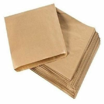 "100x BROWN 10"" x 10"" KRAFT STRUNG PAPER BAGS FOOD SANDWICH GROCERY BAG"
