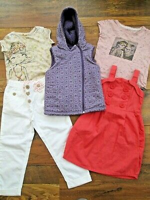 Girls Next Bundle Dress White Trousers Top T-Shirt Reversible Gillet Age 3-4