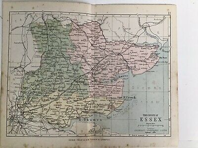 Essex, England, 1880 Original Antique Railway Map Bartholomew, Philip