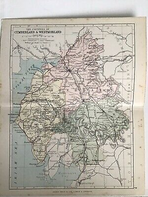 Cumberland & Westmoreland, 1880 Original Antique Railway Map Bartholomew, Philip