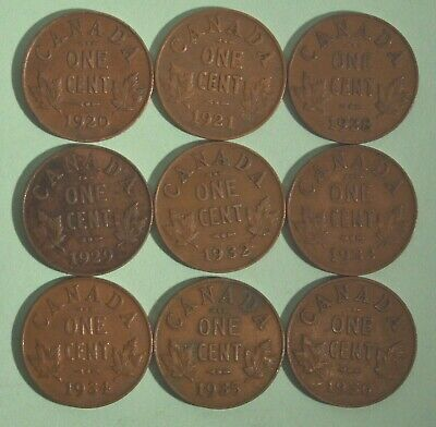 Nice Starter Set Of Canada King George V Pennies 1920-1936 - 9 Different Dates