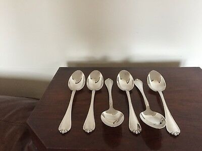 """Lovely Set Of 6 Large Heavy Silver Plated Serving Spoons   (Spss 66E) 8.5"""""""