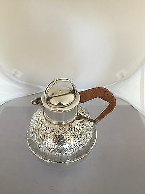 Large 1 Pint Silver Plated Jersey Jug With A Wicker Wrap Around Handle (Jj 740)
