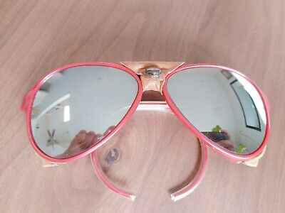 a6cdc5a904 Vintage Ray Ban CATS 8000 MIRRORED Sunglasses aviator side shield leathers  RED