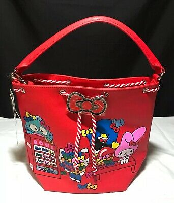 7c09423f5 Loungefly Hello Sanrio Red Hello Kitty Bucket Shoulder Bag Purse Tote New