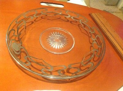 Art Deco Sterling Silver Overlay Crystal Glass Dish w/Top