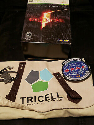 Resident Evil 5 Collectors Tricell Bag, Necklace, BSAA patch, and box