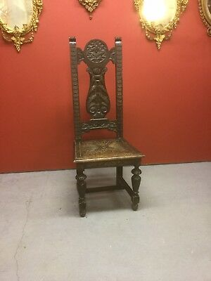 Antique Caved Oak Hall Chair Sn-43a