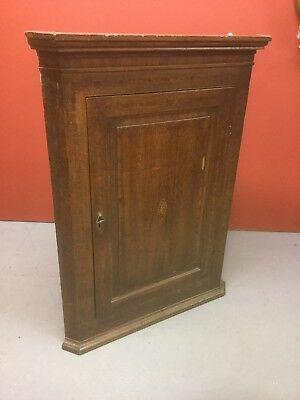 Antique Georgian Oak Inlaid Wall Hanging Corner Cupboard Sn-170a