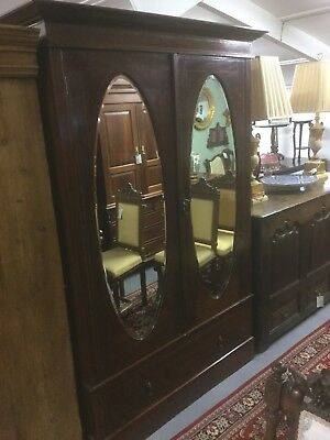 Antique Inlaid Mirrored Wardrobe Sn-p