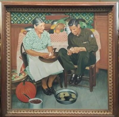 Rodriguez Painting, Norman Rockwell Illustration, Mother & Son Peeling Potatoes!