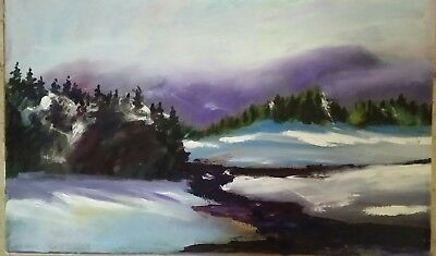 """Expressionist Landscape Painting Mountains, River, Trees Signed """"Barcelow""""?"""