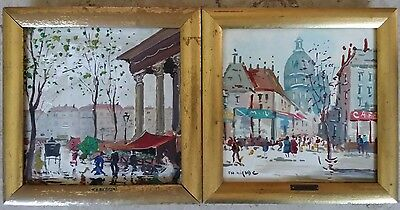 "Rare Pair Of Vintage Hand Painted Tiles Paris Scenes Signed ""charles Nicoise""!"