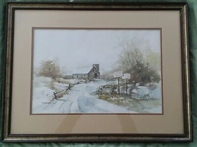 Rural Country Winter Landscape Watercolor Painting Of Farm With Barn Signed!