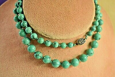"""Estate vintage 25 """" Chinese graduated turquoise necklace silver filigree clasp"""
