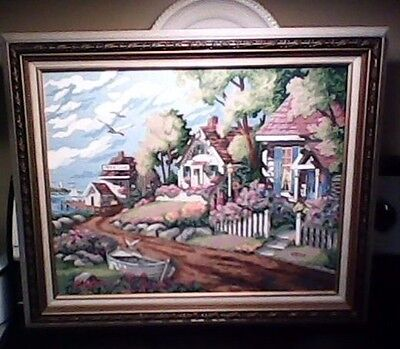 Pretty Collect Paint by Numbers Fine Art Seaside Village Painting framed,signed!