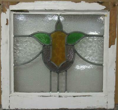 """OLD ENGLISH LEADED STAINED GLASS WINDOW Nice Abstract Design 19.5"""" x 18.25"""""""