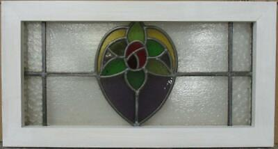 "MID SIZED OLD ENGLISH LEADED STAINED GLASS WINDOW Gorgeous Floral 24.5"" x 13"""