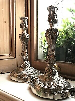 Large Pair of Antique 19th Century French Silver Candlesticks in Louis XV Rococo