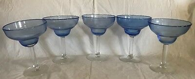 "Set of 5 Margarita Glasses Blue Bowl & Clear Thick Glass Stem & Foot 6.5""x5"""