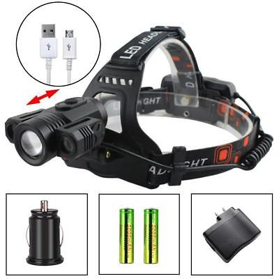 Zoomable T6 3X LED 35000LM Headlamp 4 Modes Torch +18650 Battery +Charger #K