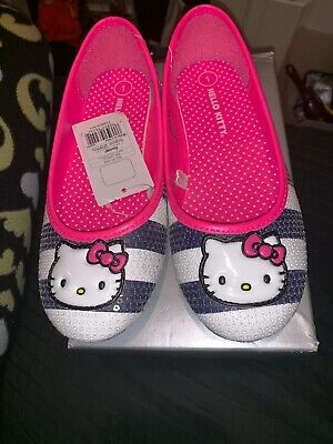 417cbc76d Sanrio HELLO KITTY Shoes White Black Pink Sparkle Ballet Flats Mary Jane 1  New