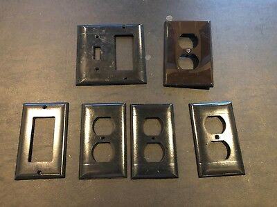 Lot of 6 DECO BAKELITE LIGHT SWITCH PLATE SIERRA ELECTRIC VINTAGE MINT LEVITON