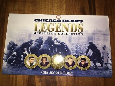 2004 Chicago Bears Legends Medallion Collection Sun Times Display Card Nfl New