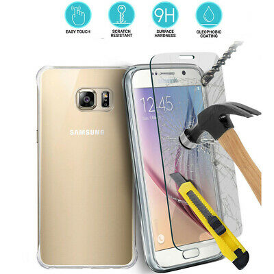 Clear TPU Case & Tempered Glass Screen Full Protect Cover For Samsung Galaxy