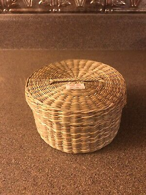 Woven Grass Basket with Lid Made The People's Republic of China Vintage