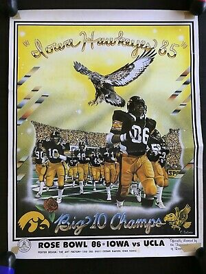 RARE 1985 Iowa Hawkeyes Football Rose Bowl Poster UCLA Bruins Vintage 80s Hawks