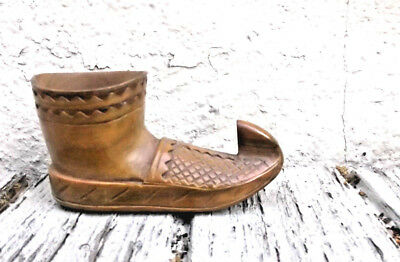 "Wooden Shoe Hand Carved Vintage Original Small 4.75"" Length Arabian Pakistani?"