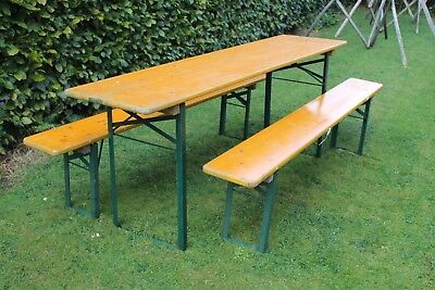20th Century VINTAGE GARDEN INDUSTRIAL BEER FESTIVAL PUB CAFE TABLES AND BENCHES GERMAN Benches/Stools