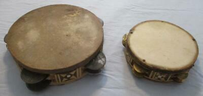 Pair of Vintage Middle Eastern Tambourines Goat Skin Hand Drum Wood Inlaid VGC