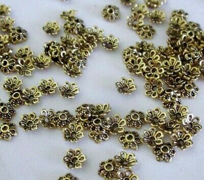 50 Antique Gold Coloured 6mm x 2mm Flower Bead Caps bc3527 Jewellery Findings