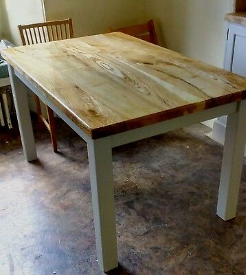 Handmade Ash Table With Painted Legs. Bespoke Sizes Available To Order