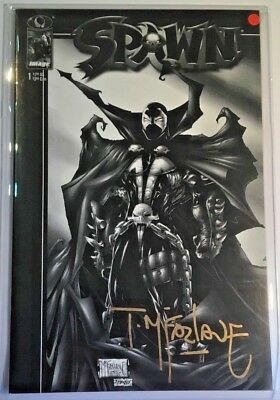 Spawn #1 Black & White Variant Signed by T McFarlane 1997 NM/MT