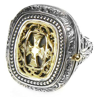 Gerochristo 2601 ~ Solid Gold & Silver Medieval Byzantine Cross Poison Ring