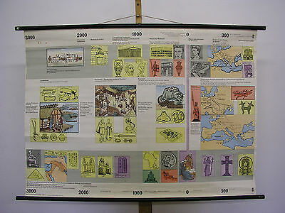 Schulwandbild History Early Days up to Start Medieval 46 1/8x33 1/8in Vintage~