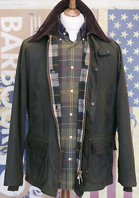 Mens Barbour Bedale A320 olive green waxed jacket size C38 M Medium