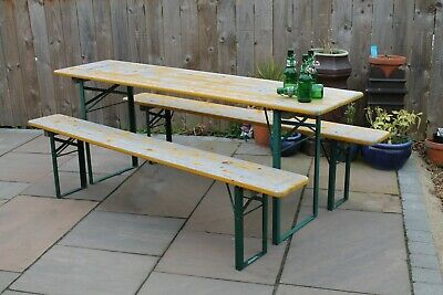 VINTAGE GARDEN INDUSTRIAL BEER FESTIVAL PUB CAFE TABLES AND BENCHES GERMAN Antiques